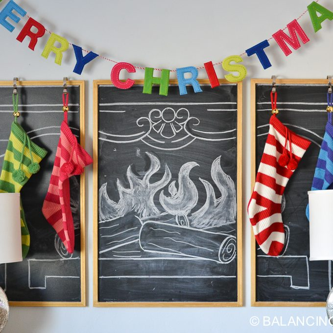 Chalkboard Fireplace for Christmas