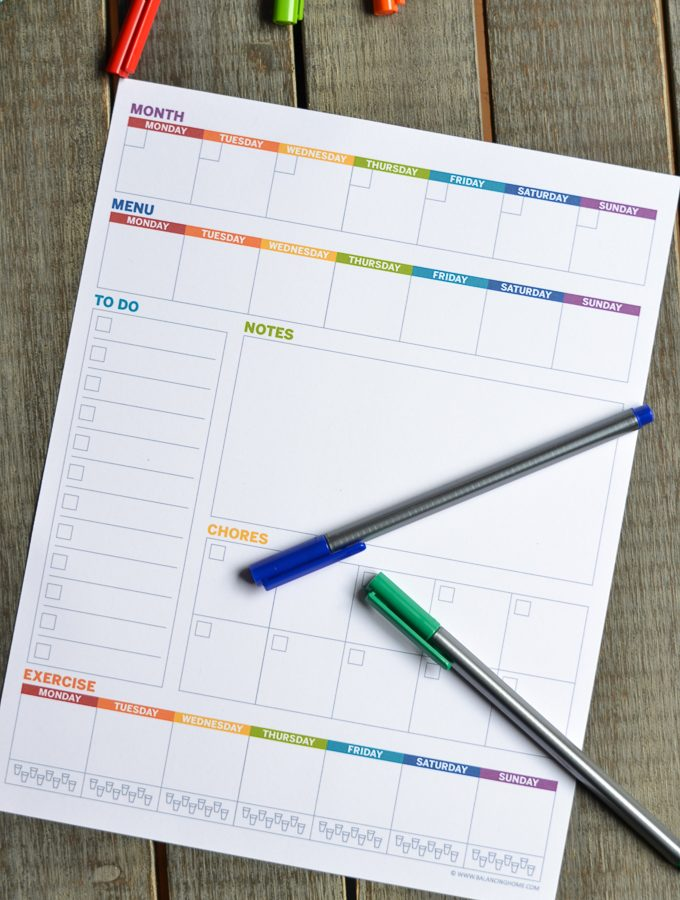 Printable Planner: Weekly Template