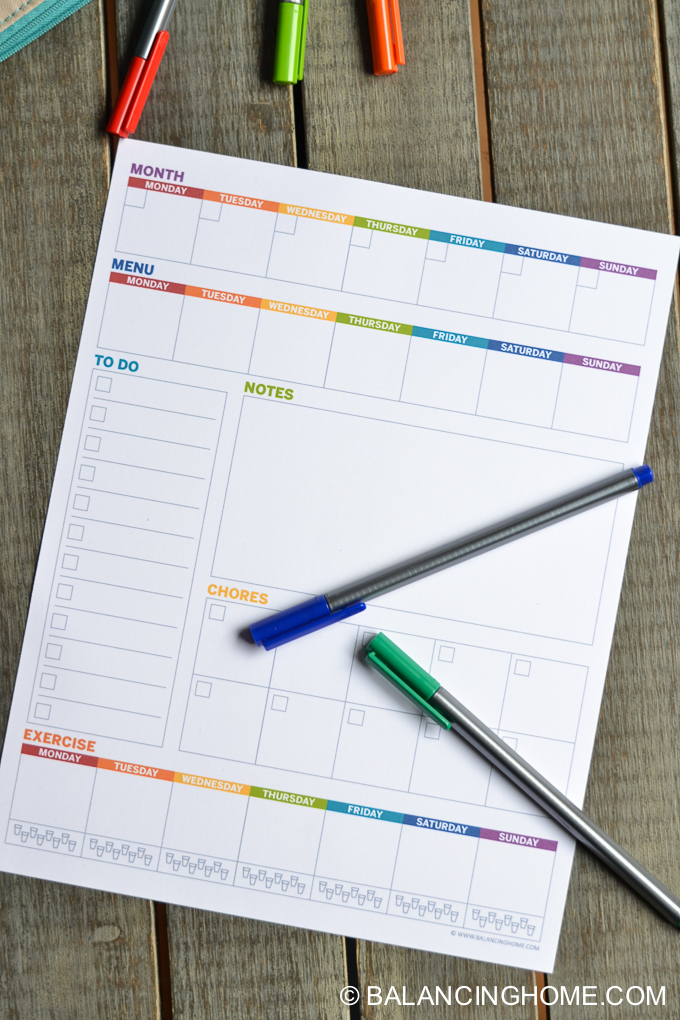 Weekly Planner Template Printable  Balancing Home With Megan Bray