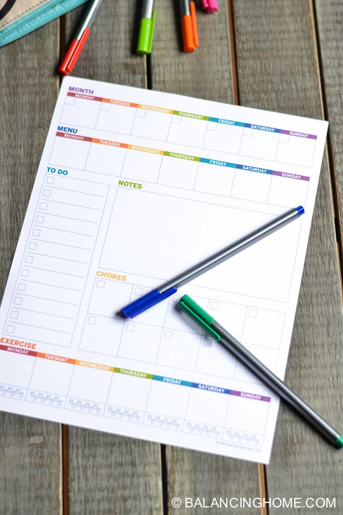 Weekly Planner Template Printable - Balancing Home With Megan Bray