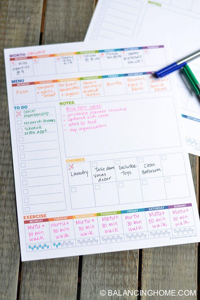 Weekly Planner Template Printable Balancing Home – Printable Weekly Planner