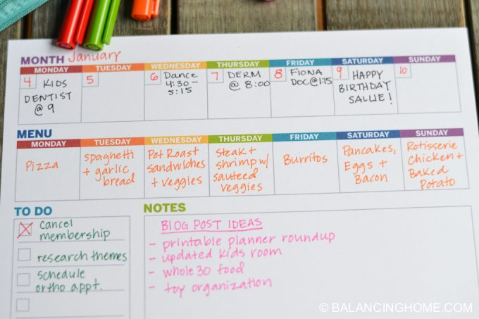 Printable Planner: Weekly Template - Balancing Home