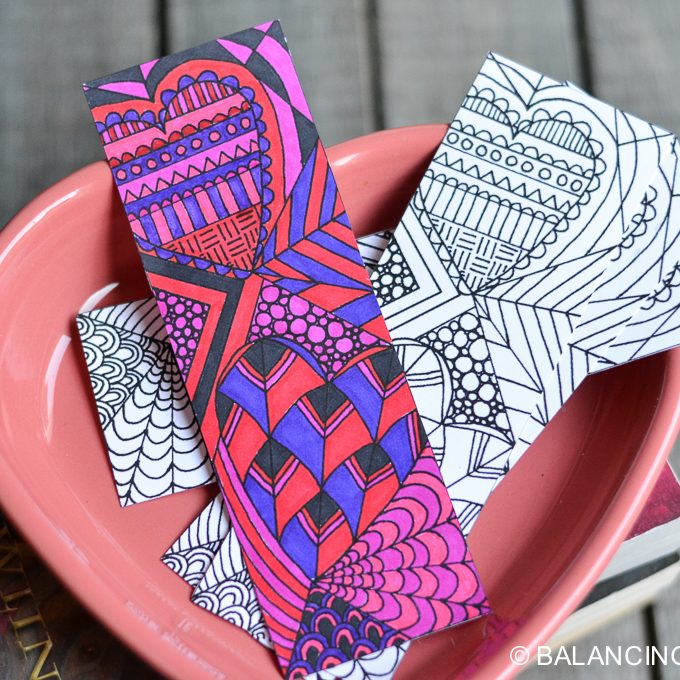 Valentine Bookmark Coloring Printable