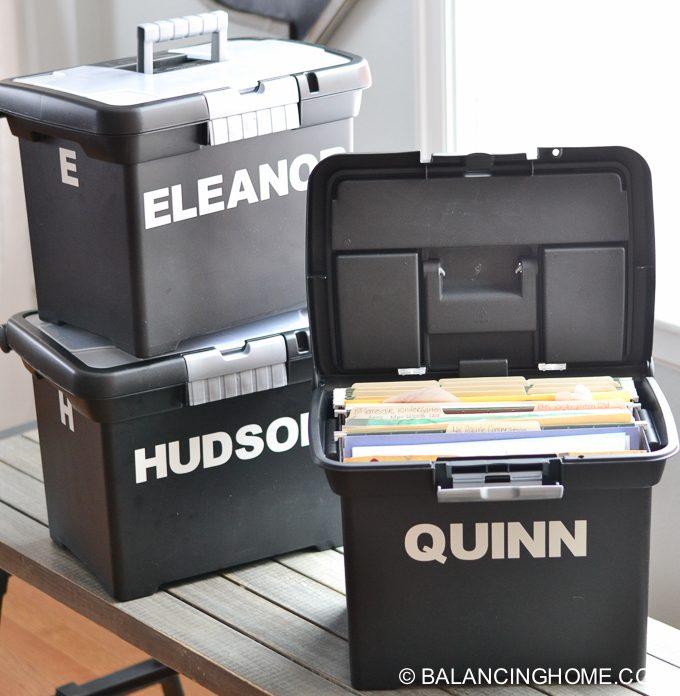 school paper artwork organization storage system