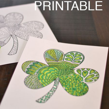 Shamrock coloring printable. Perfect for St. Patricks day. Love it for adults or the classroom.