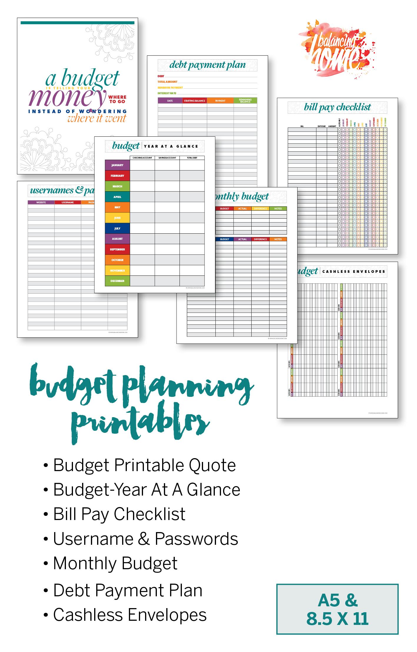 budget binder printables, Budget printables