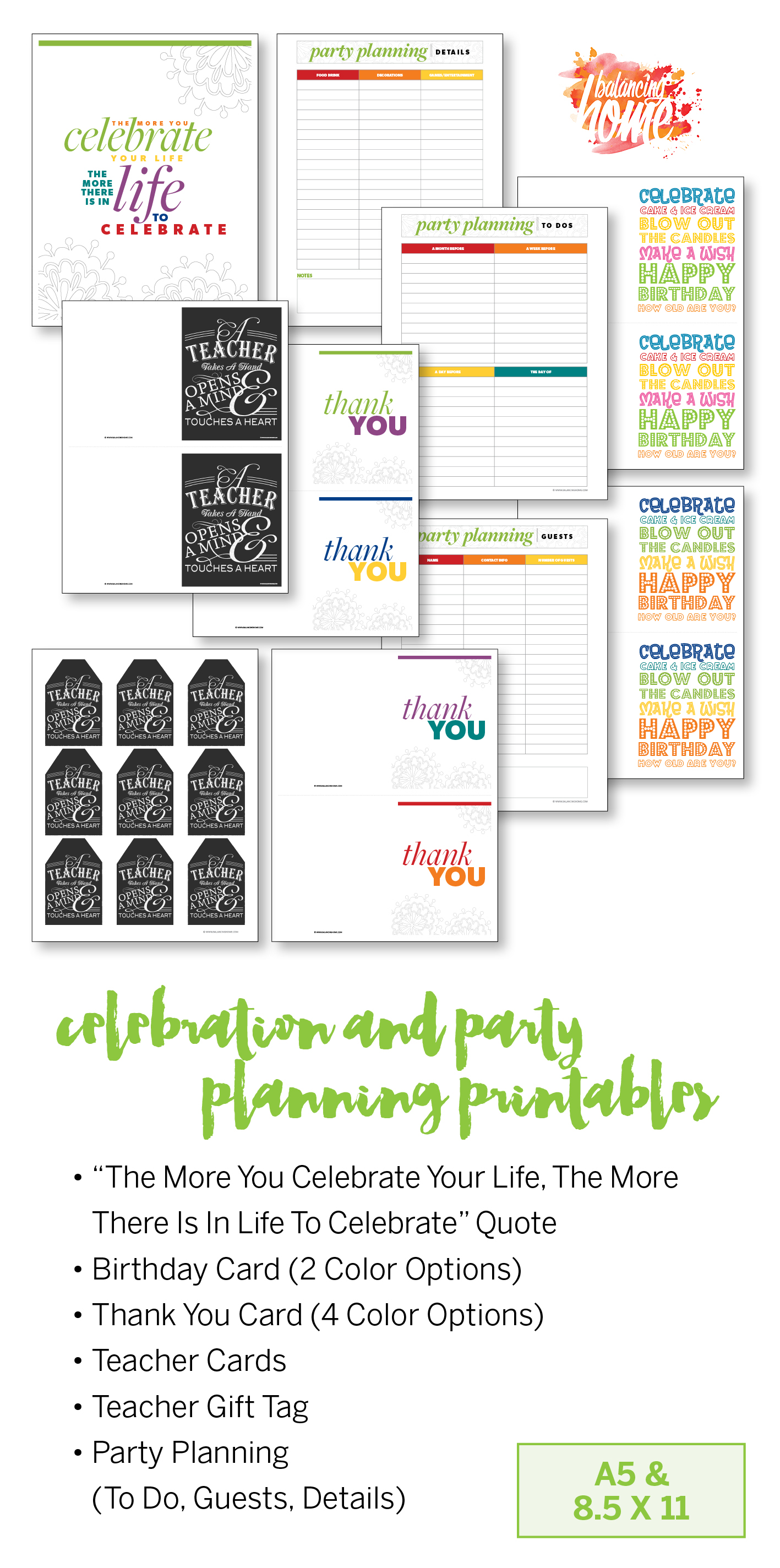 Celebrate! Party planning printables and birthday card printable (2 color options), thank you cards, teacher cards, teacher gift tags