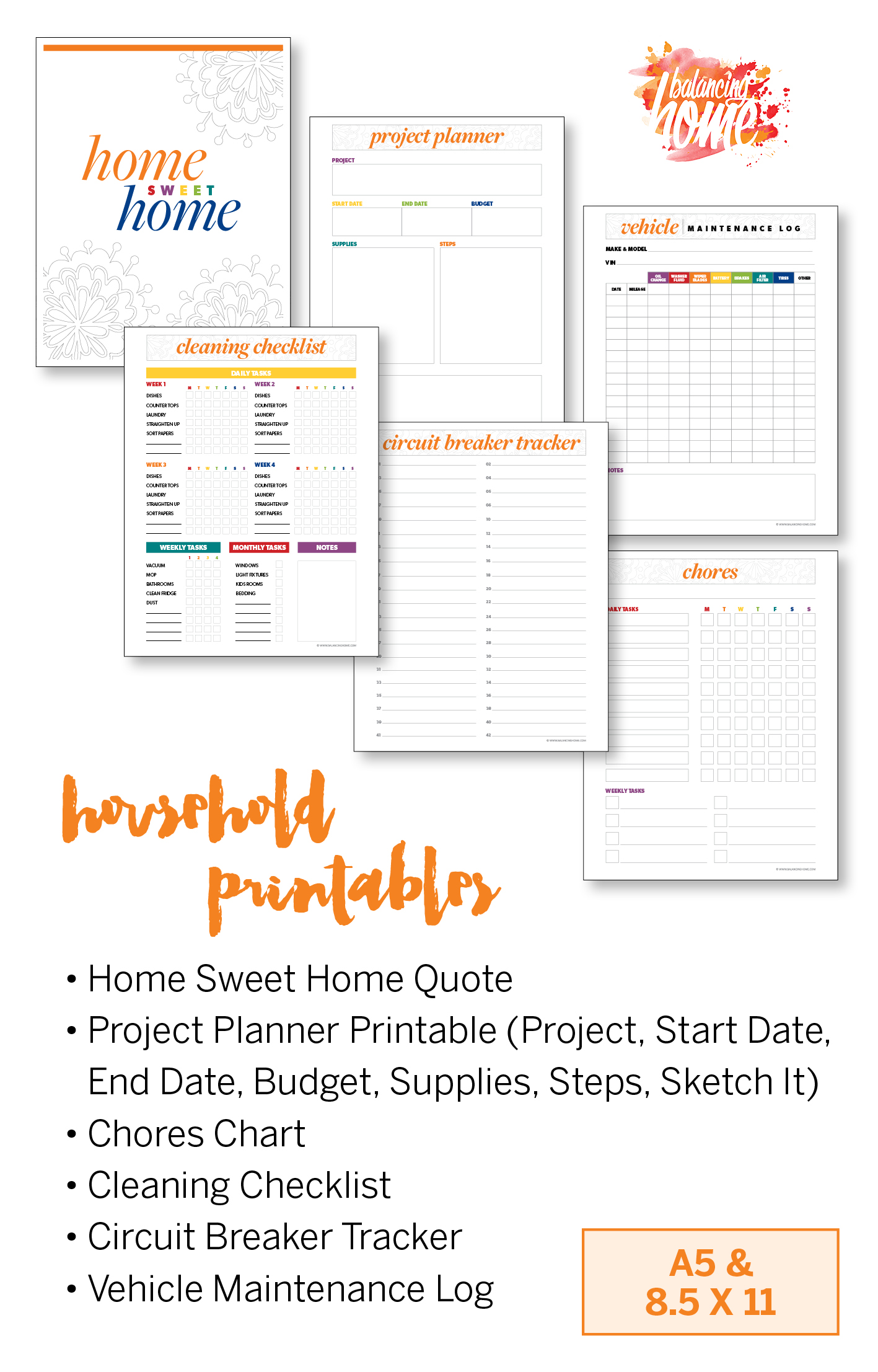 Household organization printables. Cleaning checklist printable, chores printable & project planner