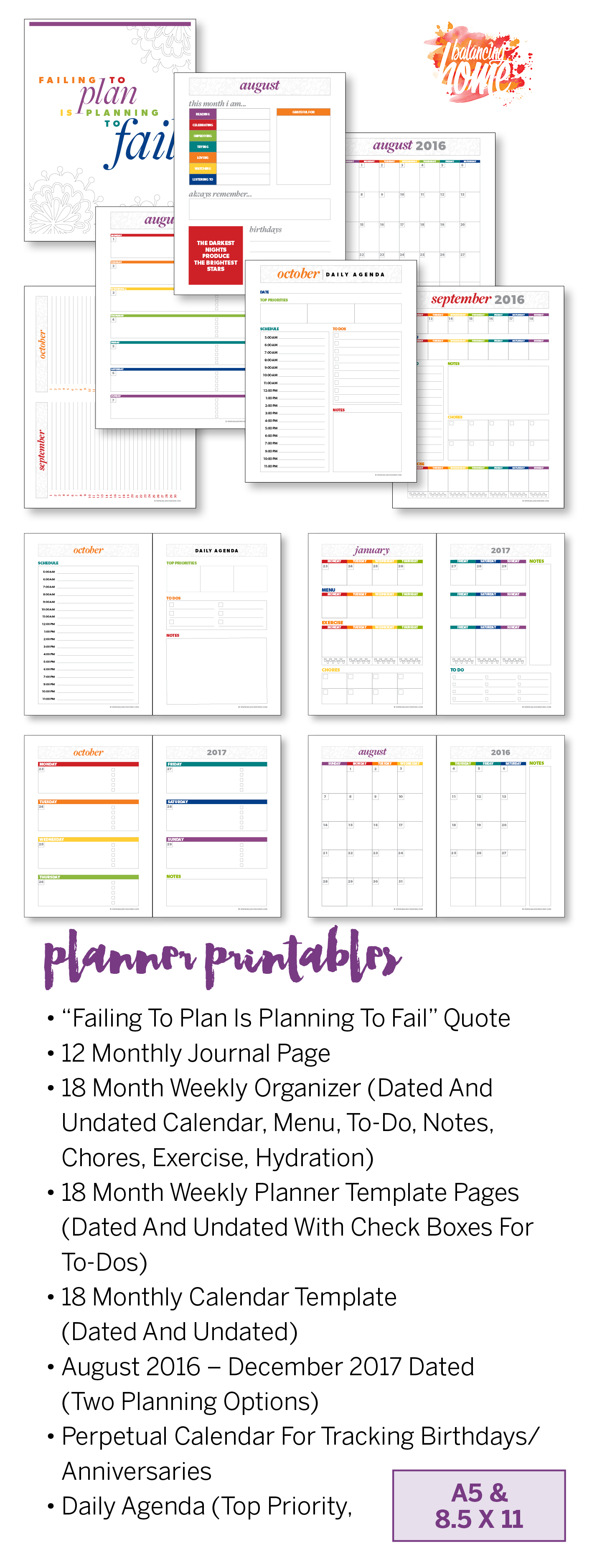 Planner printables in dated and undated, 8.5x11 and A5 size