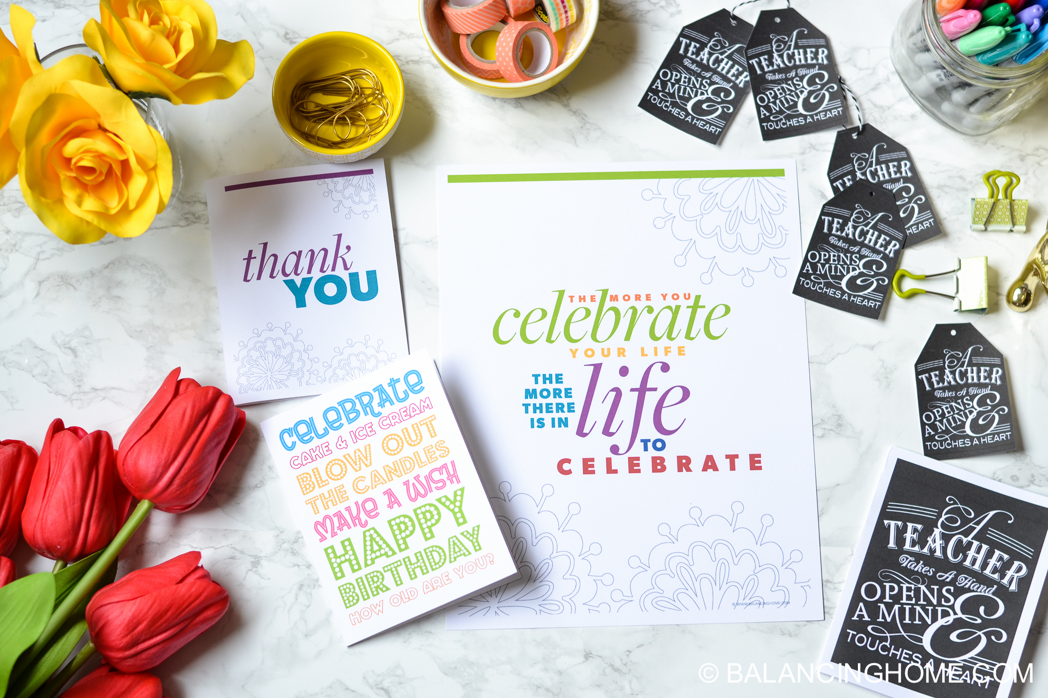 organizing planning printable template - printable thank you card, printable birthday card, printable teacher card, printable gift tags