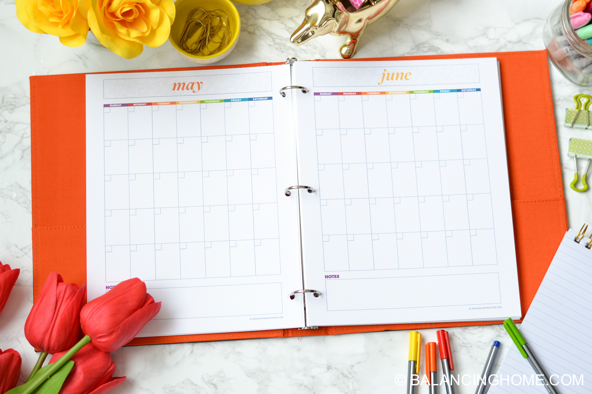 organizing planning printable template - calendar