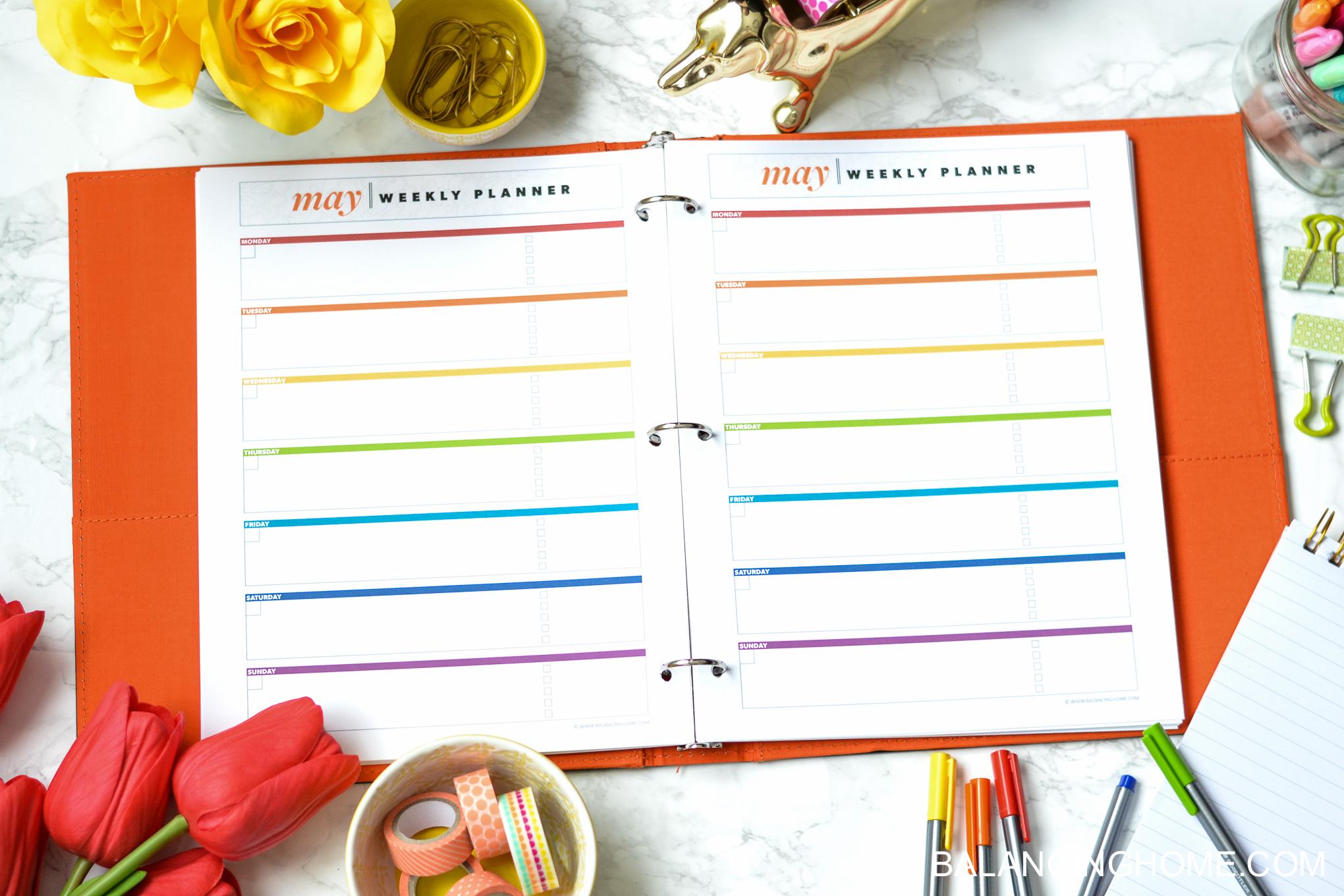 organizing planning printable template - weekly planner