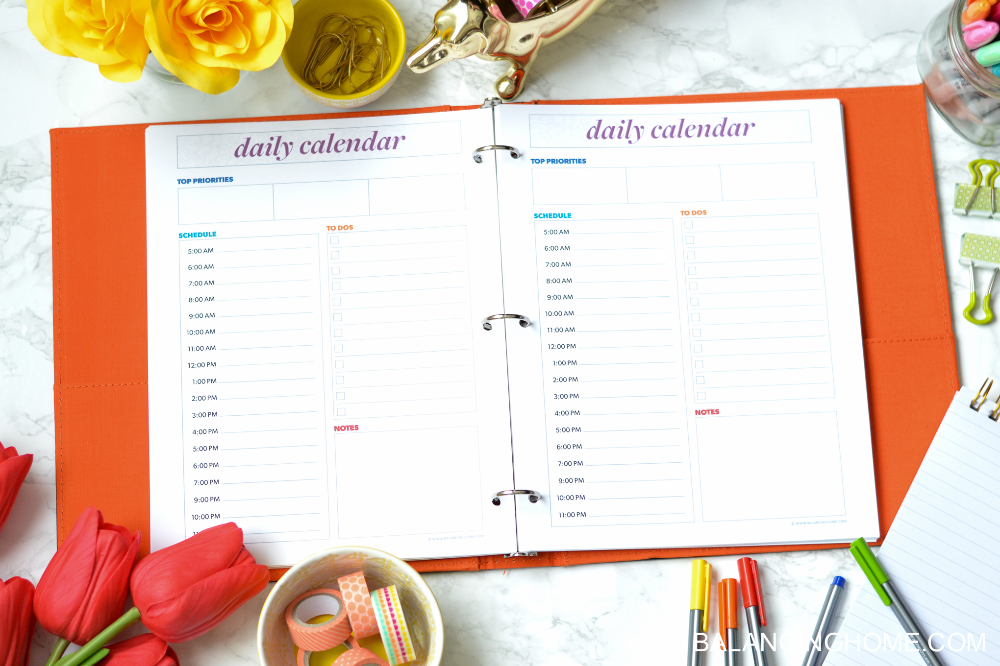 organizing planning printable template - daily calendar