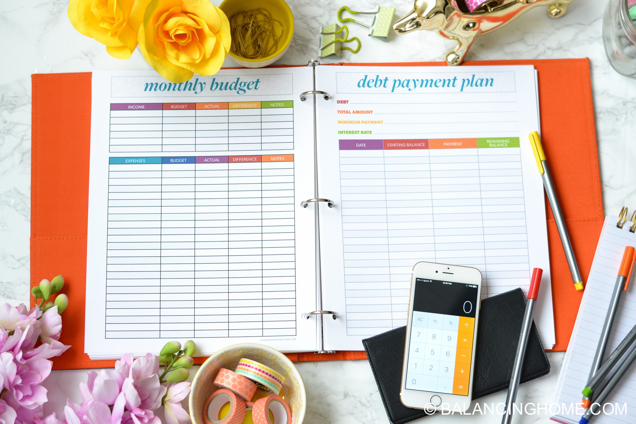 organizing planning printable template - budget printables