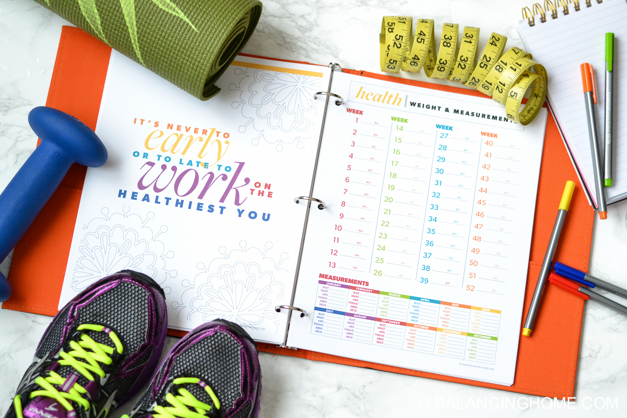 organizing planning printable template - fitness and weight loss printable