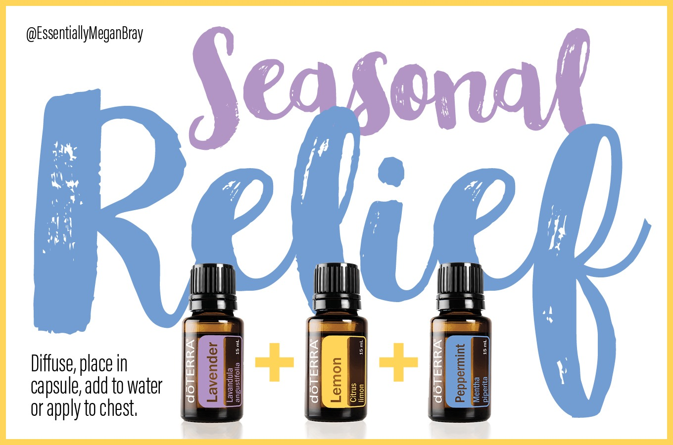 Essential oil blend- seasonal relief with lavender, peppermint and lemon