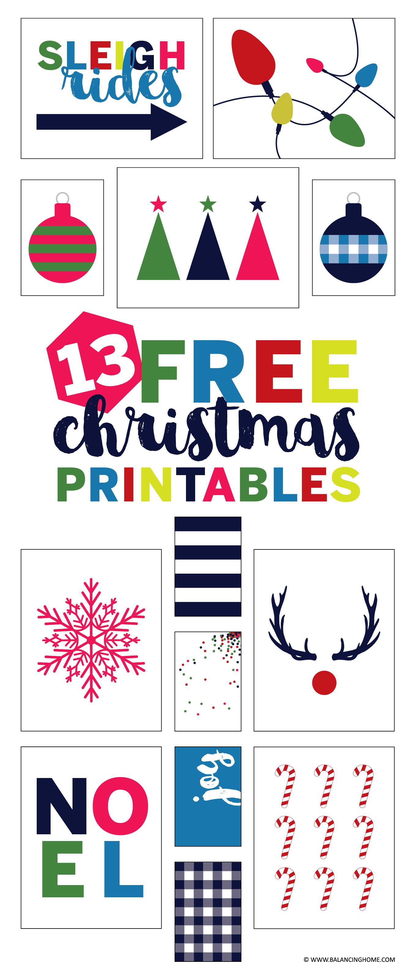 13 free christmas gallery wall printables