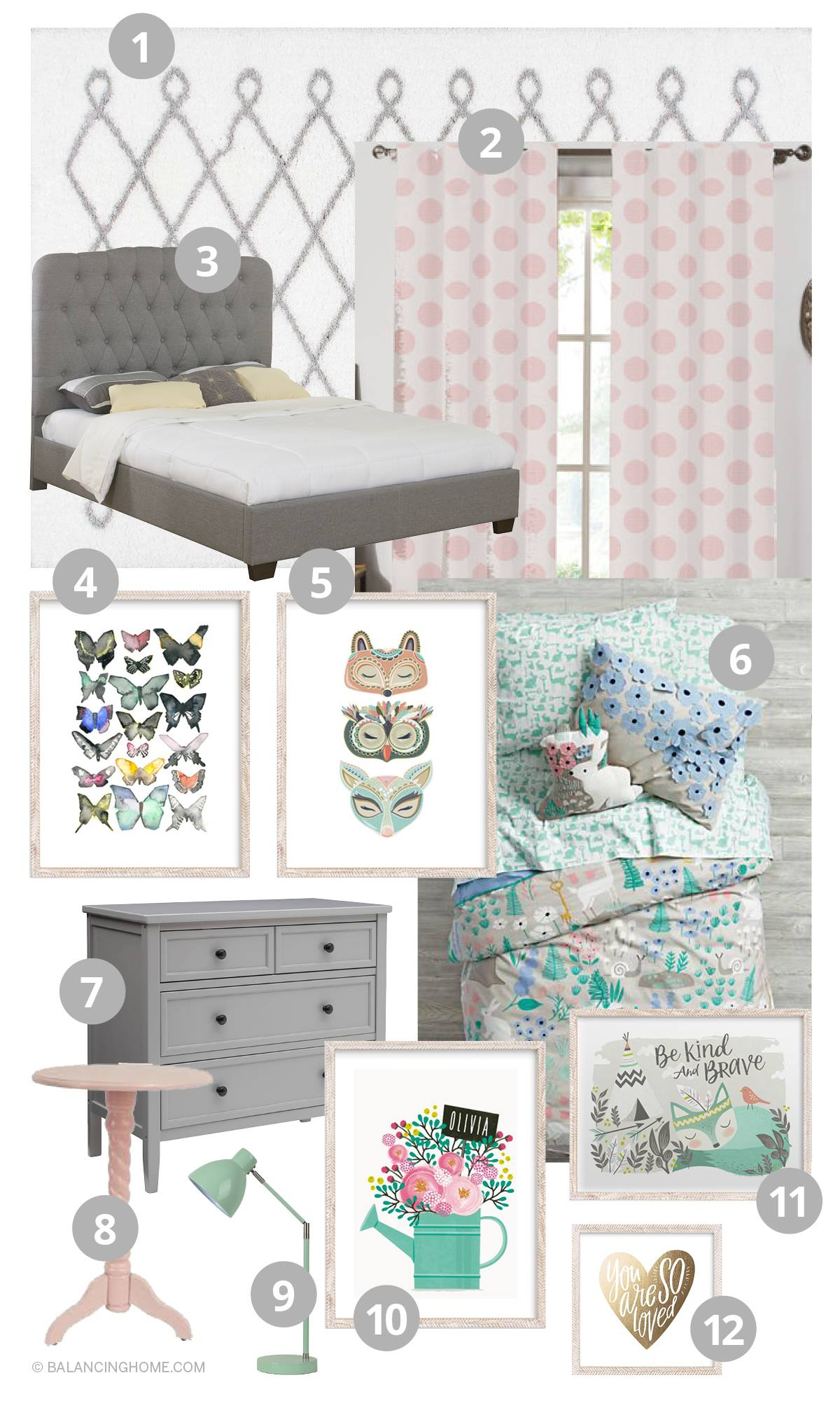 Girl Bedroom Decorating Ideas Moodboard woodland forest folktale, gray, pink, mint, mint, periwinkle