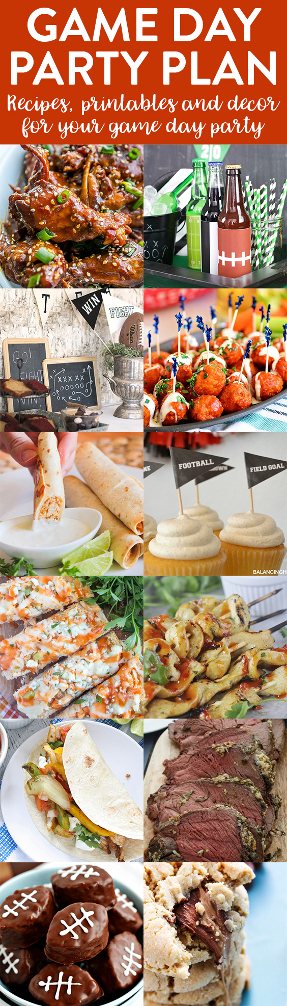game day party plan | football | big game | entertaining | recipes | appetizers | printables