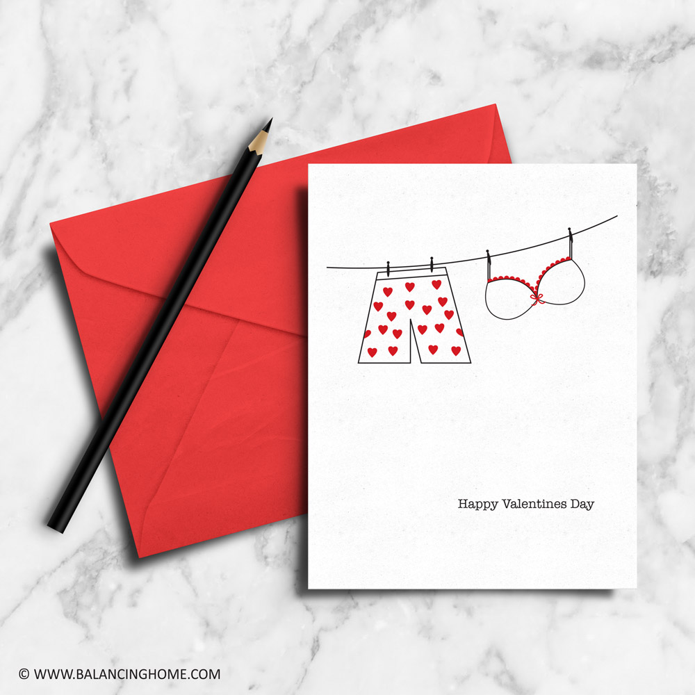 romantic valentines day card printable