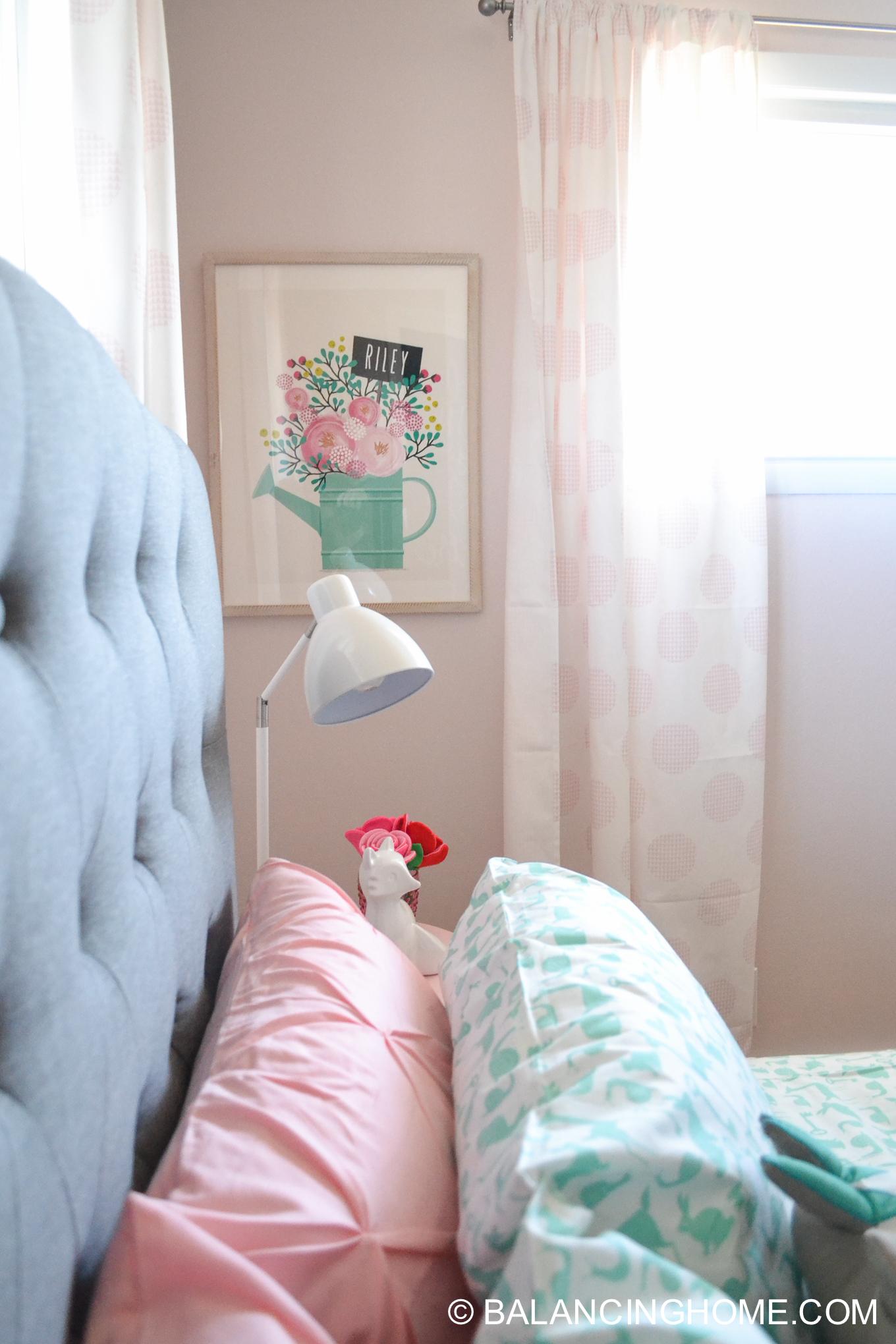 Girl Bedroom Decorating Ideas Moodboard woodland forest folktale, gray, pink, mint, periwinkle