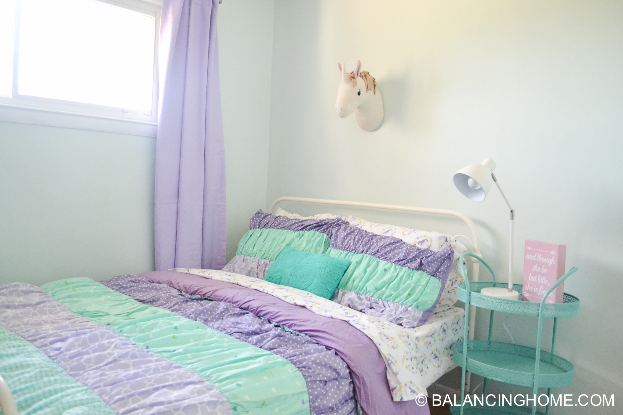 girl room makeover purple, turquoise, mint, unicorn