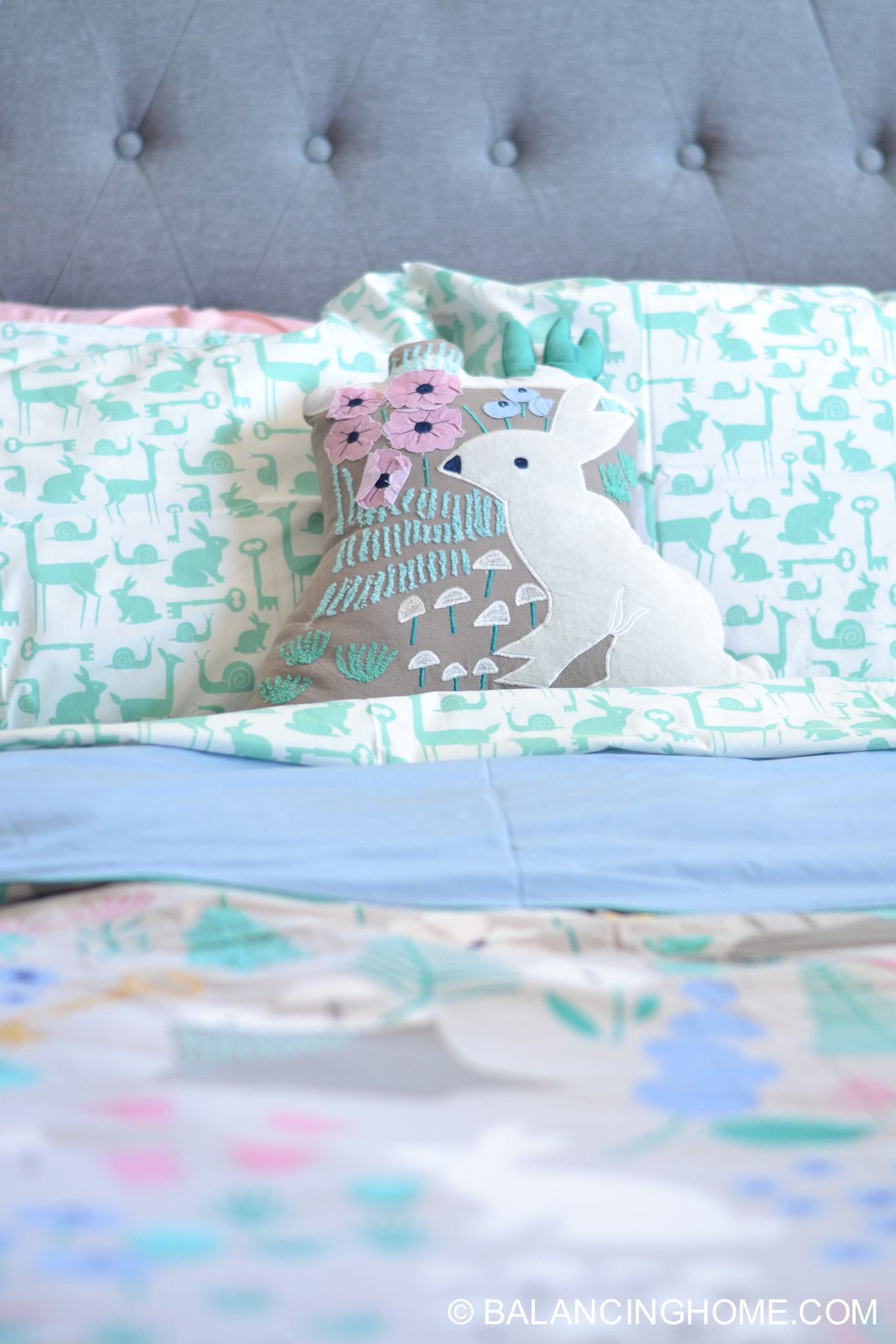 Girl Bedroom Decorating Ideas Moodboard woodland forest folktale, gray, pink, mint, periwinkle