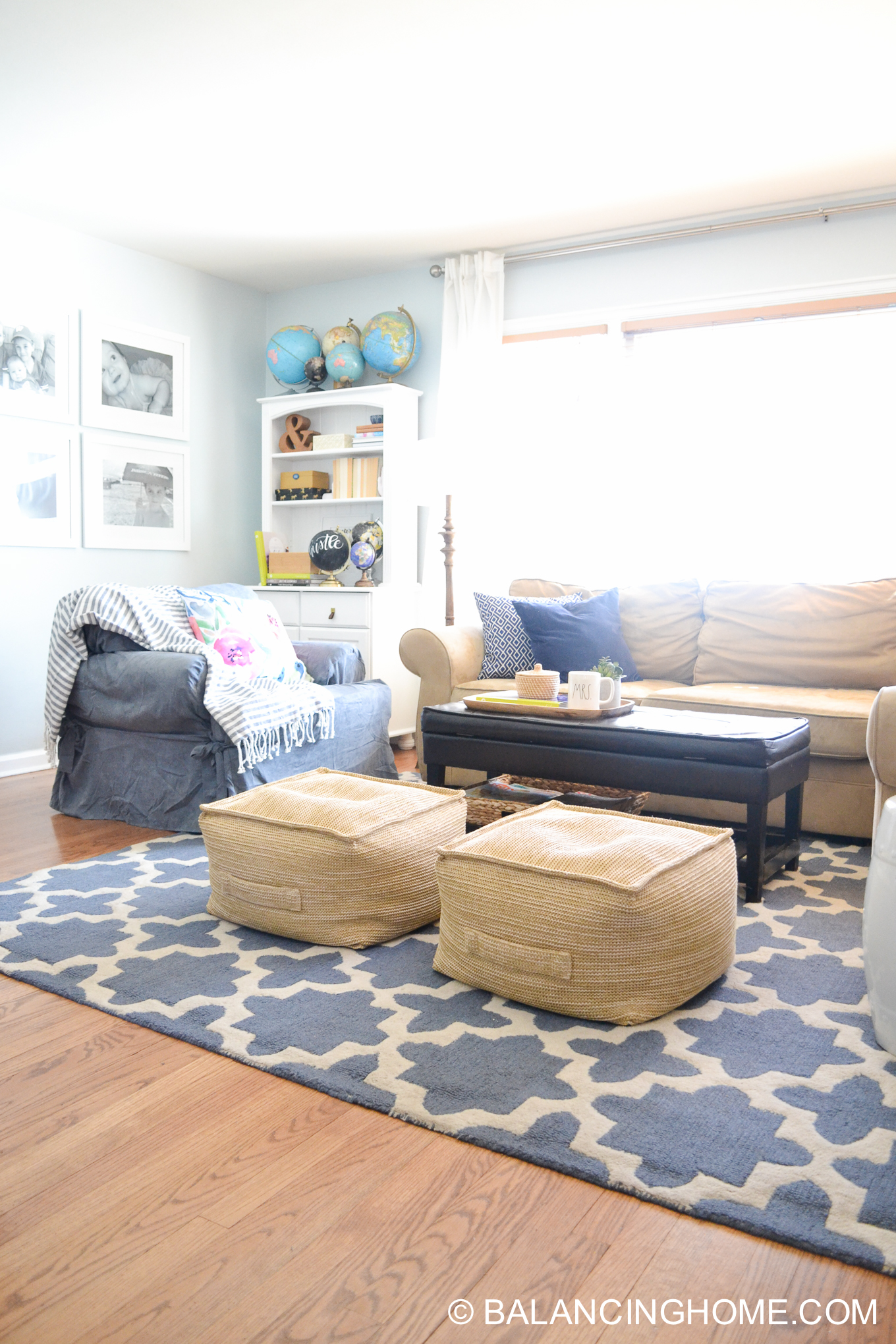 blue navy living room pops of pink family space-14