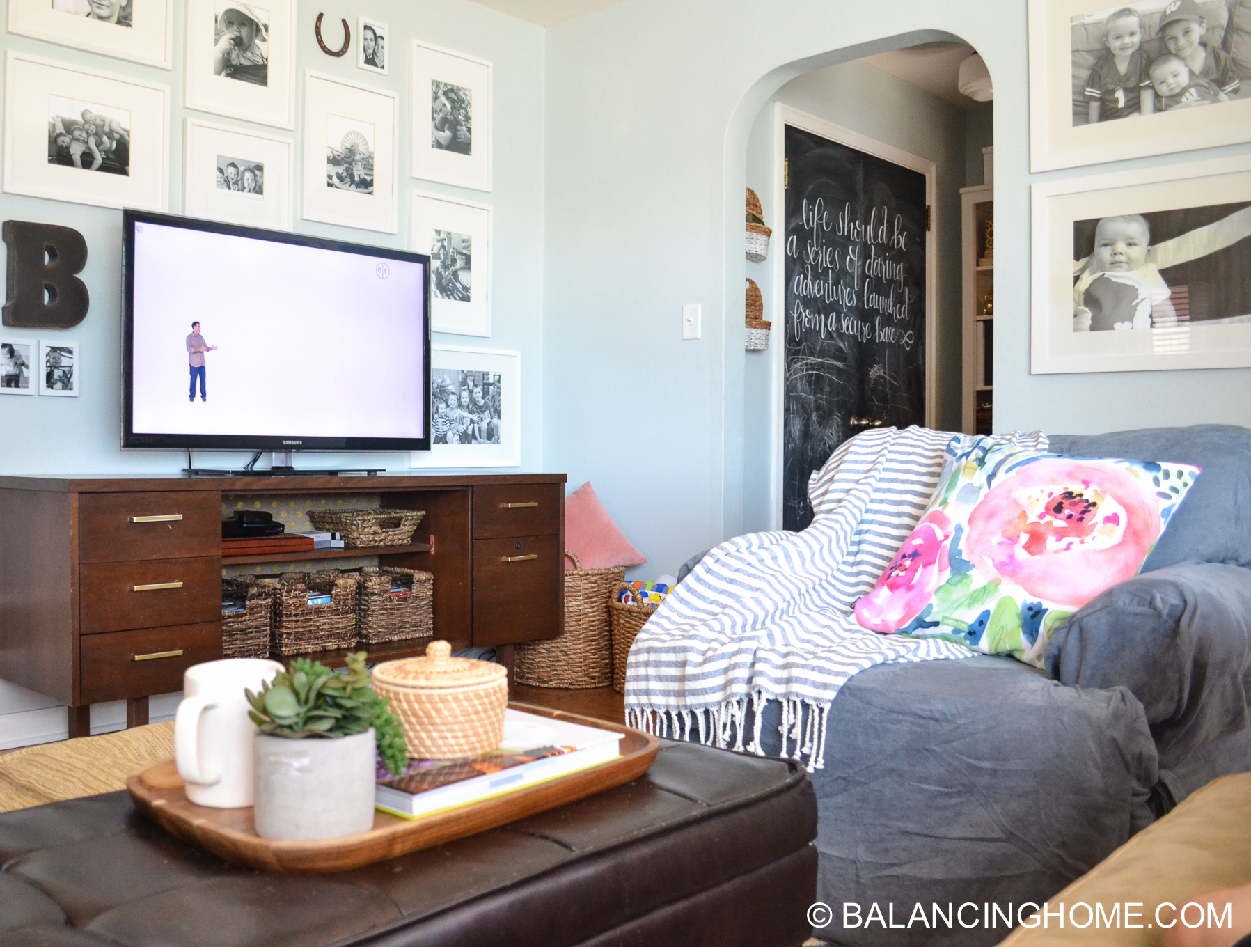 blue navy living room pops of pink family space-23