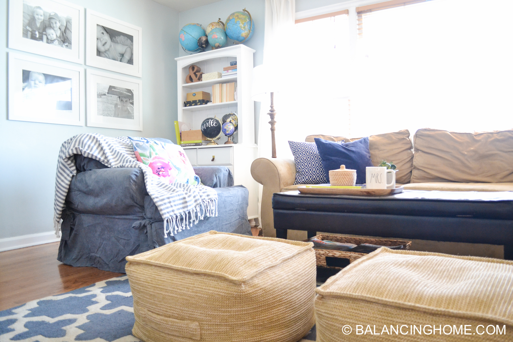 blue navy living room pops of pink family space-34