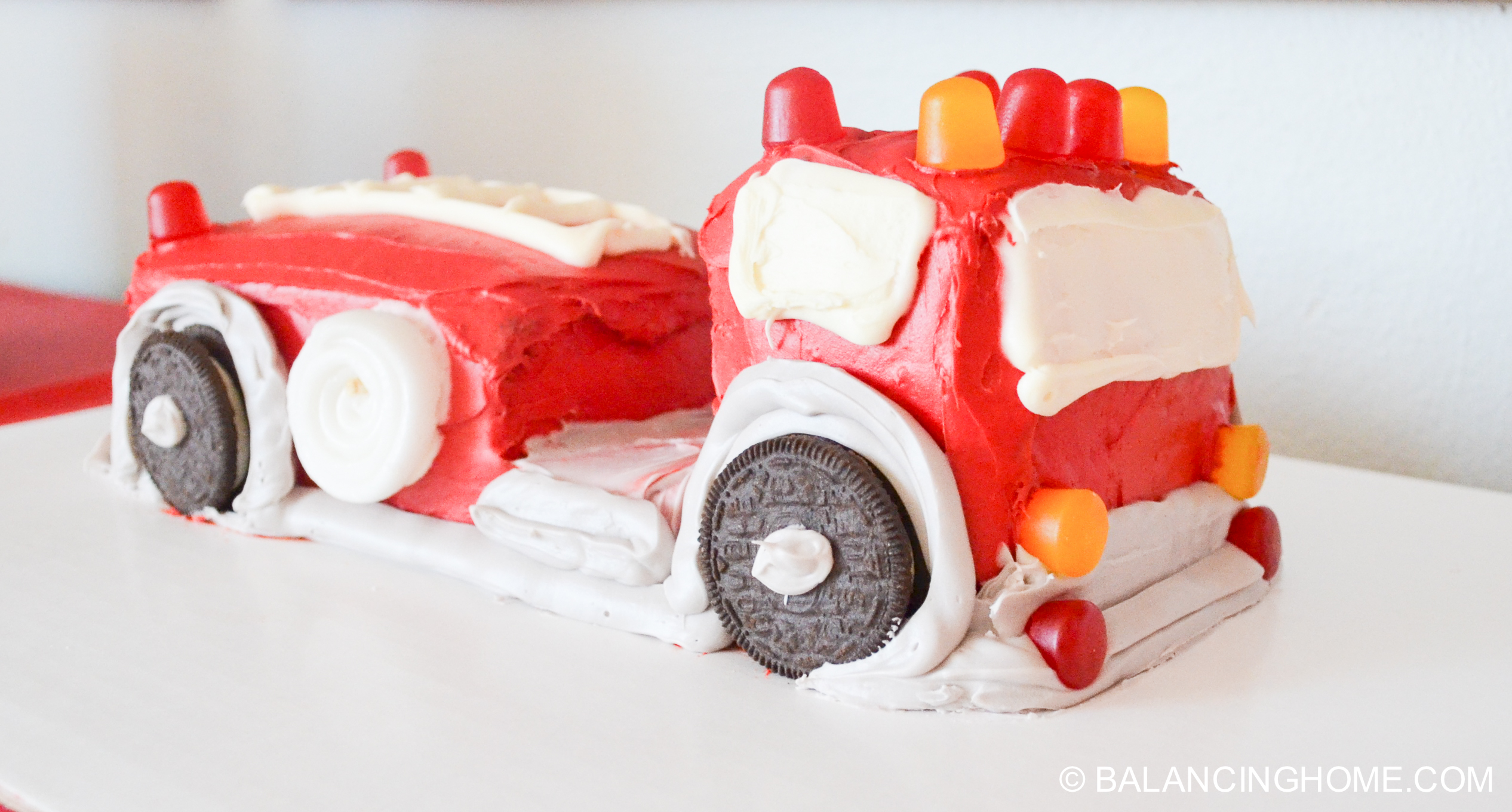 firefighter birthday & Fire truck cake