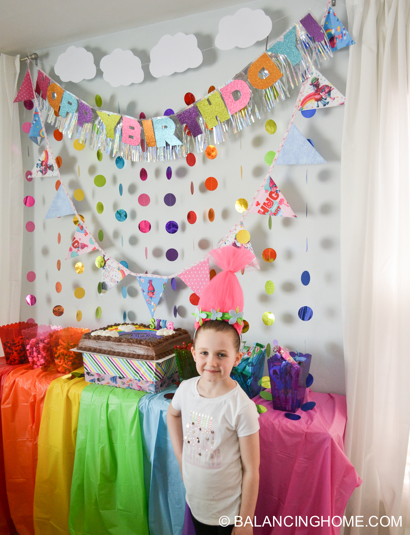 Troll Birthday Party & DIY Poppy Hair Headband