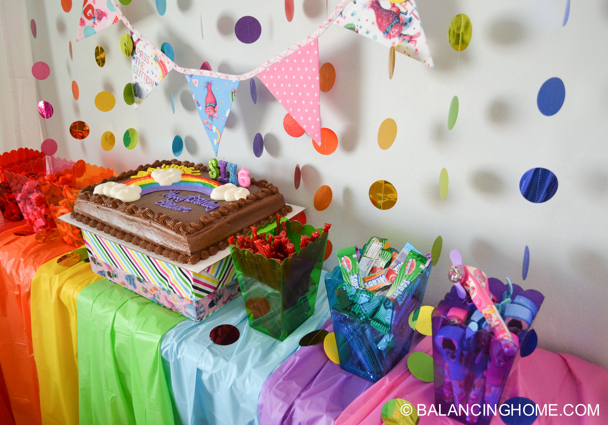 Trolls Birthday Party - Easy trolls birthday party ideas included a simple trolls birthday cake and easy trolls themed candy buffet