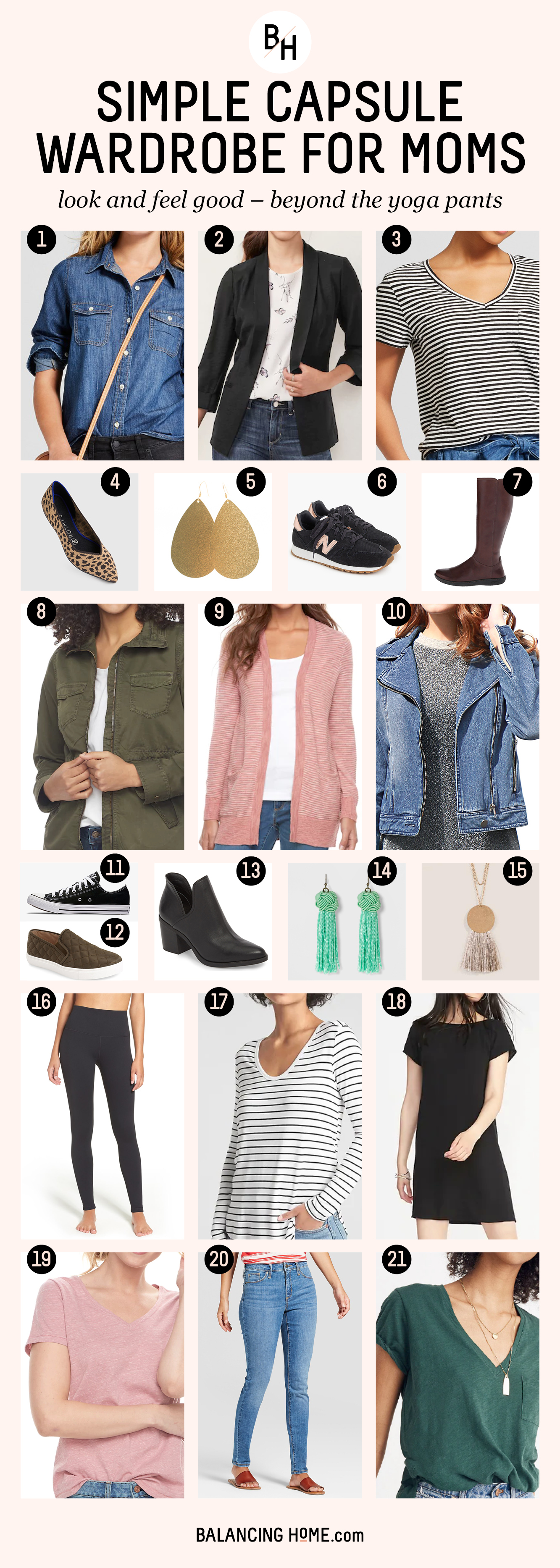 Simple capsule wardrobe for moms. Look good and feel good with easy, affordable and comfortable basics.